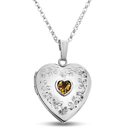(Finejewelers Sterling Silver Heart Locket Pendant Necklace with Genuine Citrine November Birthstone)