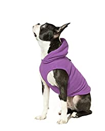 Gooby Every Day Fleece Cold Weather Dog Vest with Hoodie for Small Dogs, Purple, Medium