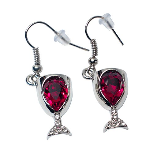 Prefen Alloy Wine Glass Earrings With Wine Tinted Crystal - Fun Wine Gift - (Wine Glass Earrings)