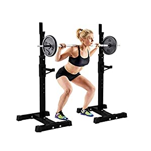 Fainosmny Adjustable Squat Rack Dipping Station Barbell Rack Dip Stand Fitness Bench Black