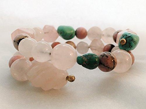 (Mixed Pink and Blue Gemstone Beaded Memory Bracelet)
