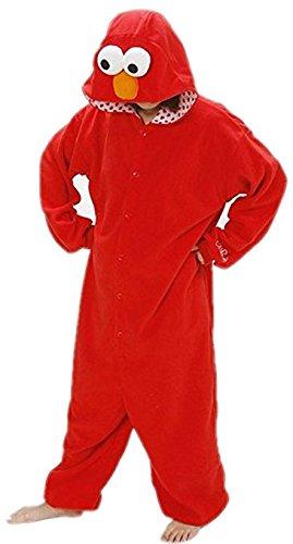 Superlieu Men's Elmo Kigurumi Pajamas Anime Costume L