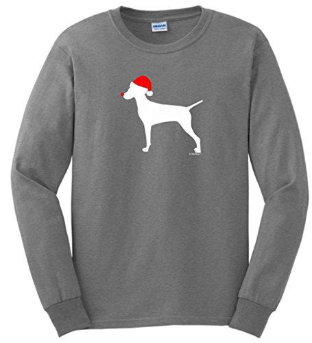 Merry Grristmas Christmas Vizsla Santa Hat Long Sleeve T-Shirt X-Large Sport Grey (Vizsla Hat)