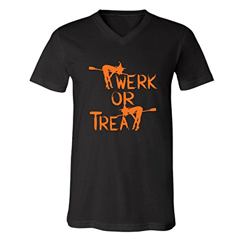 Funny Halloween Costume Ugly Witch Twerk or Treat V-Neck T-Shirts for Men(Black,XX-Large) -