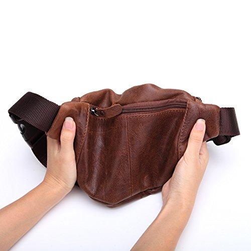 Primo Marsupio Marrone Ying Borse Aperta Strato Sportive Cellulare Bag Degli All'aria Cuoio Di Uomini x8S4q