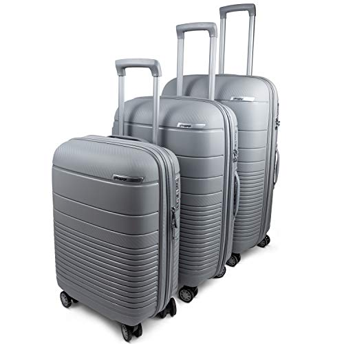 GoLuggage Ariel Polypropylene Suitcase Set - 3 Pcs Of Highest Quality Large Carry On Hard Travel Case With 8 Wheels - TSA Lock - Best Deal For The Best Quality -