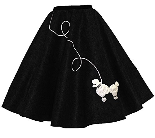[Hip Hop 50s Shop Adult Poodle Skirt Black XL/2X] (Greaser Girl Outfits)