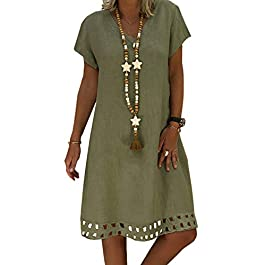 Women's Short Sleeve Casual Summer Dresses Beach Sun Dresses