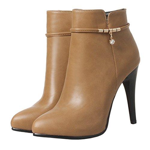 AIYOUMEI Damen Stiletto High Heels Ankle Boots Stiletten mit Reißverschluss DUf6ppE