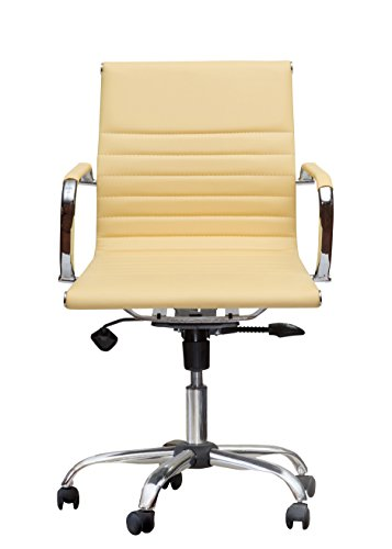 Winport Furniture WF-7912 Mid-Back Executive Leather Armrest Desk Chair, Yellow