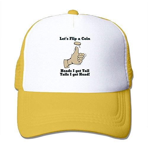Coin Flip Hat (Lets Flip A Coin Head I Get Tail Tails I Get Head Mesh Hat Unisex Trucker Caps Sun Mesh Back Cap Hat Comfortable)
