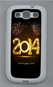 2014 Happy New Year Fireworks TPU Silicone Rubber Case Cover for Samsung Galaxy S3 SIII I9300 White
