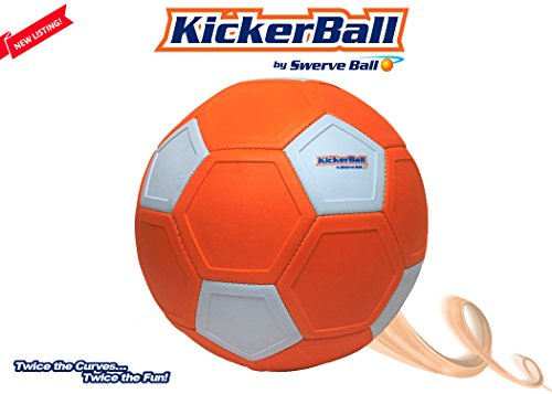Kickerball - Indoor and Outdoor Adult and Kids Curving, Swerving Game and Match Ball, Exercise, FIFA World Cup, MLS, EUFA, Sports Practice Soccer Ball with Pump by Kickerball