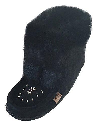 Fur Mukluks (Laurentian Chief tsar Short Black Rabbit Fur Beaded Suede Mukluks (8))