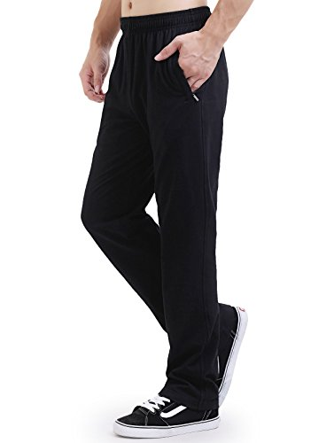3 Open Pockets (DOUBLE STAR Men's Sweatpants Active Open Bottom Pants Athletic Cotton Sport Pants-Black-S)