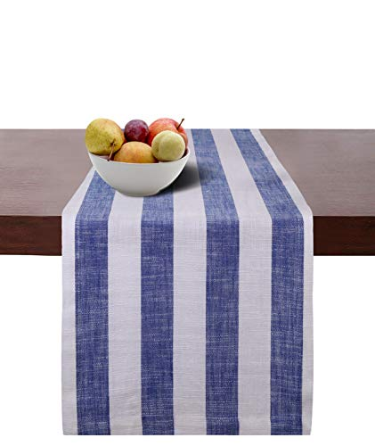 - Cotton Clinic 2 Pack Cotton Table Runners Farmhouse 108 Inches, 16x108 Wedding Table Runners, Rustic Bridal Shower Decor Dining Table Runners with Mitered Corners and Generous Hem - Navy Blue White