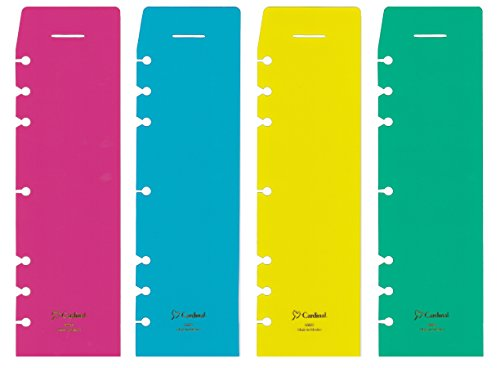 Plastic Folio - Cardinal 60025 Snap-In Page Marker Divider Finder Organizer in Neon Frosted Transparent Red, Blue, Green, Yellow, fits 3 Ring and 7 Ring 8-1/2 x 11 Size 5 Folio sized Planner, 4-Pack