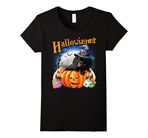Funny Dachshund Costumes (Womens Happy Halloweiner Shirt - Funny Dachshund Halloween Costumes Large)