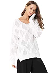 Fincati Cashmere Sweater Women Pullovers Soft Cozy Warm Autumn Winter V Neck Thicken Sweaters White Sales B White L