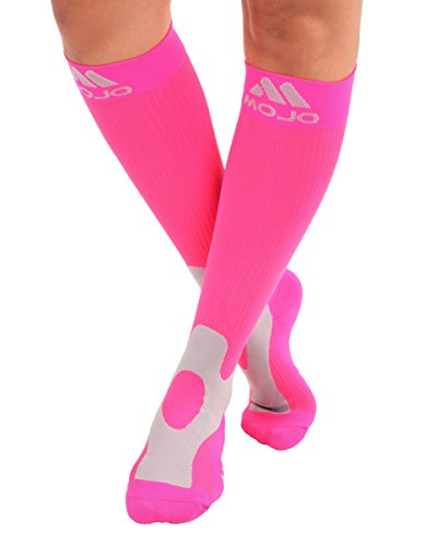Mojo Compression Socks 20-30mmHg Unisex Sport Compression Stockings Pink Large (Best Way To Get Period Blood Out Of Clothes)