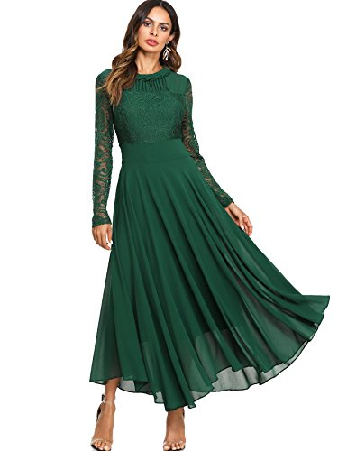 Milumia Women's Vintage Floral Lace Long Sleeve Ruched Neck Flowy Long Dress Green L