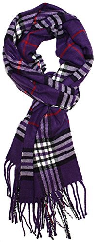 Classic Luxurious Soft Cashmere Feel Unisex Winter Scarf in Checks and Plaid (Purple Plaid1)