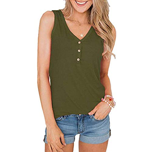 Dressin Women's Tank Tops Ladies Loose Button Down Deep V Neck Shirt Blouse Sleeveless Solid Tops Army Green ()
