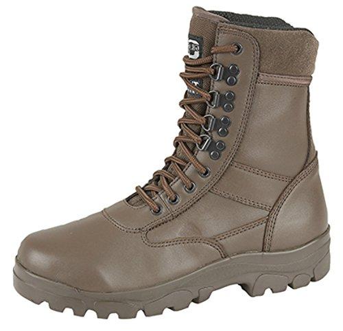 Grafters - Stivali alti stile Combat con protezione della suola in acciaio. Stivali stile polizia, sicurezza, esercito, cadetti, nero (Top Gun Brown), 36,5-37 EU