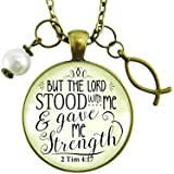 """24"""" Jesus Fish Faith Necklace But the Lord Stood With And Gave Me Strength Scripture Christian Jewelry For Women"""