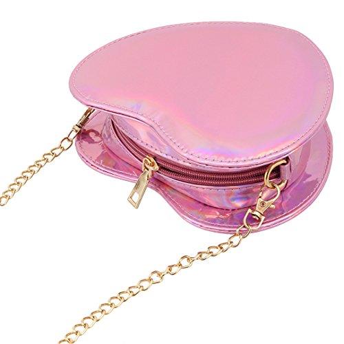 Bag Pink Shoulder Evening Handbag Shiny Heart Purse Bag Bag Hologram Candice Crossbody Holographic Women xYa1HwqnOz