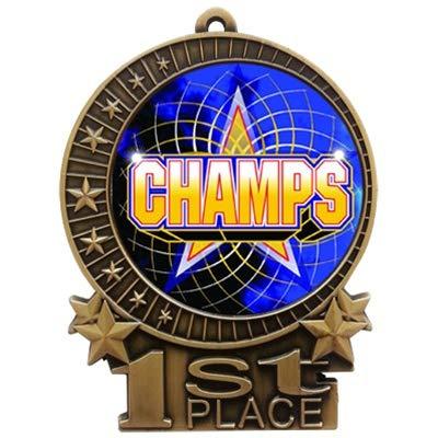 エクスプレスメダル 3インチ チャンピオン1位 メダル ゴールドに赤と白と青のネックリボンの受賞トロフィー XMD B07G6XLKQG