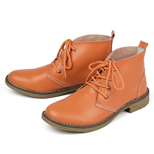 Style Color Shoes Candy Fashion High Casual Shoe Classic Leather Women up Boots Lace Flat Weideng Orange Genuine BpSfwqPHxx