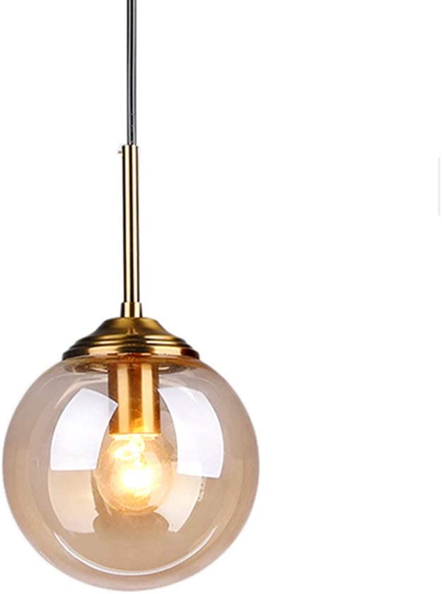 MZStech Industrial Retro Loft 3 Way Pendant Light, Cluster Chandelier Hanging Lamp Fixture Brass Fittings with Glass Globe Lampshade (Grey) Amber