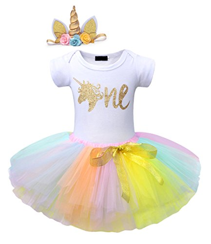 HenzWorld Unicorn Headband Baby 1st Birthday Party Romper Tutu Skirt Bodysuit Clothes