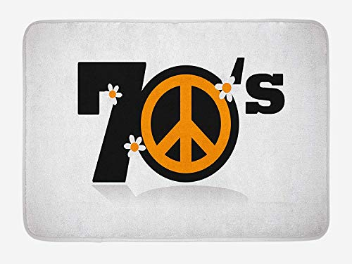 Weeosazg 70s Party Bath Mat, Peace Symbol of Seventies with Daisies Rock n Roll Psychedelic Print, Plush Bathroom Decor Mat with Non Slip Backing, 23.6 W X 15.7 W Inches, Black Marigold White]()
