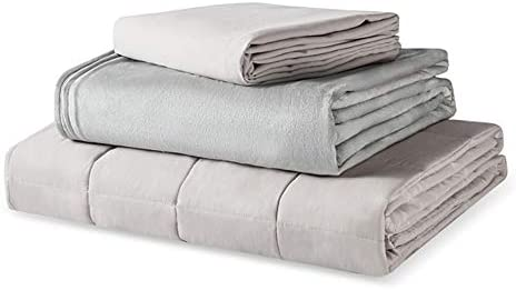 """Thirdream Cool Weighted Blanket Queen Size 15lbs , for Adults, 3 Pieces, 60"""" x 80"""", with 2 Removable Washable Covers, Soft Minky Cover and Ice Silk Cover, Grey"""