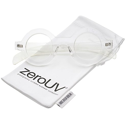 zeroUV - Bold Thick Frame Flat Clear Lens Round Eyeglasses 39mm (Clear / - Bold Eyeglasses