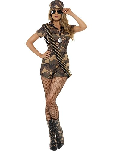 Smiffy's Women's Army Girl Sexy Costume, Camouflage, X-Small