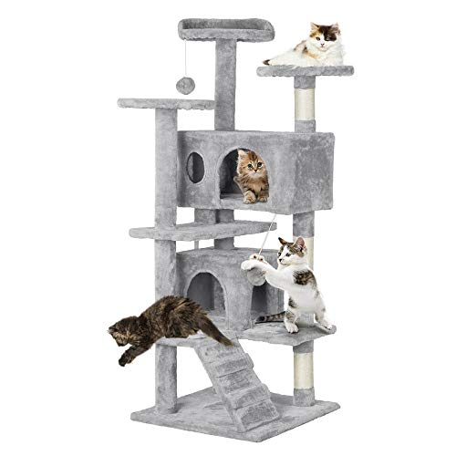"Yaheetech 51"" Multi-Level Cat Tree with Sisal-Covered Scratching Posts, Plush Perches, Double Condos and Replaceable Dangling Balls Light Gray - for Kittens, Cats and Pets"