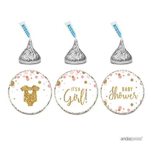 Andaz Press Blush Pink Gold Glitter Girl Baby Shower Party Collection, Chocolate Drop Label Stickers Trio, 216-Pack, Fits Hershey's Kisses Party Favors