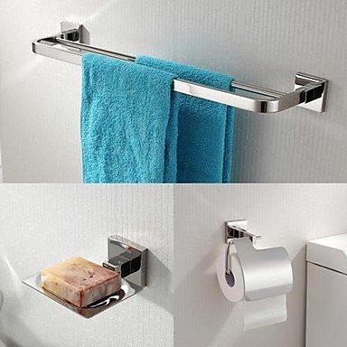 BBSLT- 304 en acier inoxydable 3 pièces accessoires de salle de bains barre de savon et des plats mis de serviettes et porte-