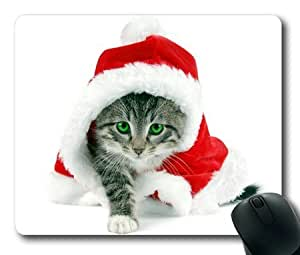 Lilyshouse Lovely Cat Wearing Christmas Cap Rectangle Mouse Pad