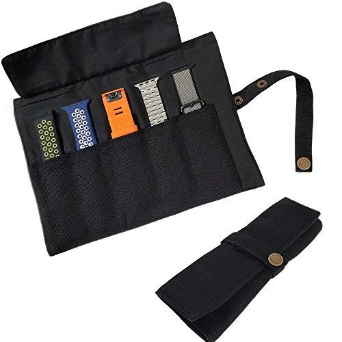 YOOSIDE Watch Band Accessories,Smart Watch Band Protable Storage Bag Case Pouch Organizer-Compatible Apple Watchbands, Garmin Watch Band, Samsung Watch Band etc -Cotton Canvas (Black)