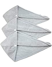 HOPESHINE Hair Drying Towel Twist Women's Soft Shower Microfiber Towels for Hair Turban Wrap Fast Drying Ultra Absorbent Cap Great Women (3-Pack Grey)