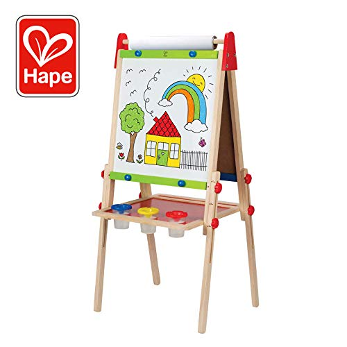 Award Winning Hape All-in-One Wooden Kid's Art Easel with Paper Roll and Accessories]()