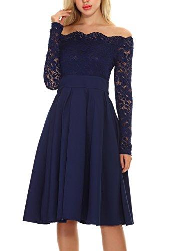 Azul Vestido de Fiesta Boda Falda Elegante Cóctel DAFUNNA para Flores Larga Mujer Vestidos Encaje Manga Noche Casual de T7WnaRPdq