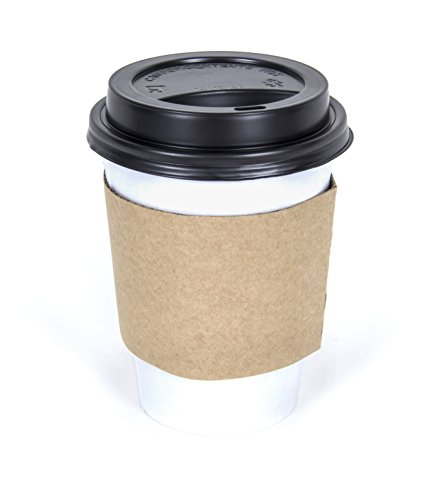 CucinaPrime WHITE Paper Coffee Hot Cups with BLACK Travel Lids and Sleeves - 12 oz, 100 (Black Hot Cup Lid)