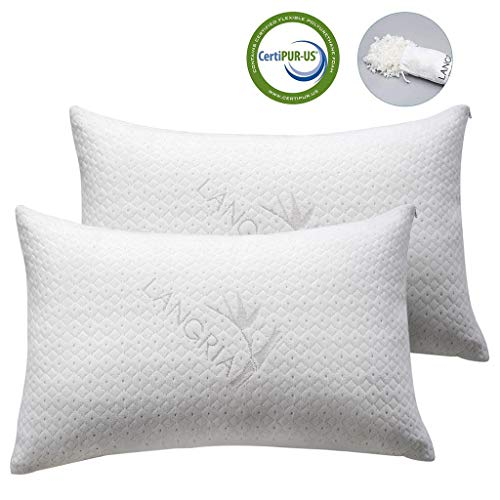 LANGRIA Luxury Bamboo Shredded Memory Foam Pillow with Zip Cover and Adjustable Viscoelastic Sleeping Pillow CertiPUR-US Approved Foam Filling Breathable Hypoallergenic(Queen,2 Pack)