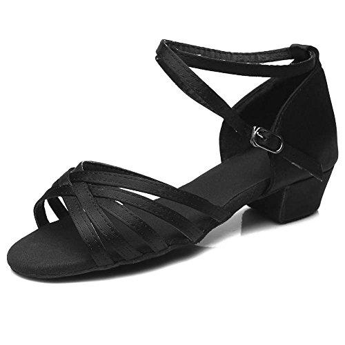 Ballo Yff Tango Con Scarpe Ballroom Tacco Da 9 Latino Bambino Basso Girls Nero Bambini Salsa Leit zdwXzF