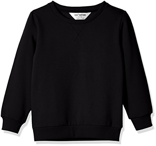 Kid Nation Kids' Slouchy Soft Brushed Fleece Casual Basic Crewneck Sweatshirt for Boys or Girls XL Black